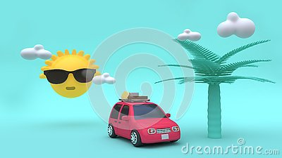Yellow sun clouds coconut tree cartoon style red car with many objects 3d rendering holiday,going-travel,sea,beach,summer Stock Photo