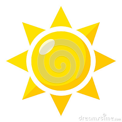 Yellow Sun Flat Icon Isolated on White Vector Illustration