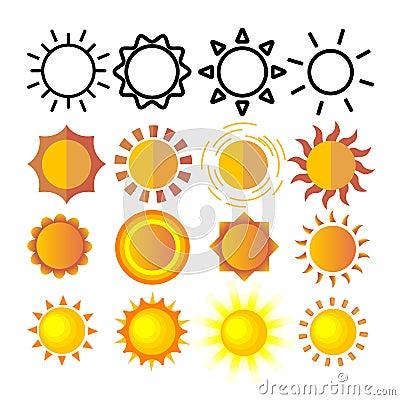 Yellow Sun Icon Set Vector. Sunset Sign. Sunrise Light. Summer Heat. Orange Ray. Season Object. Shiny Climate Graphic Vector Illustration