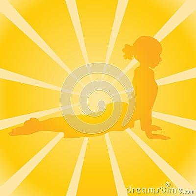 Yellow sunburst with yoga
