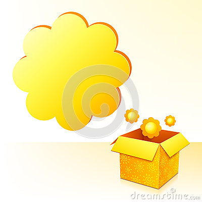 Free Yellow Sunflowers Box With Text Bubble Royalty Free Stock Photos - 28683708