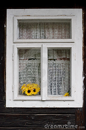 Free Yellow Sunflowers In A Window Royalty Free Stock Image - 14536936