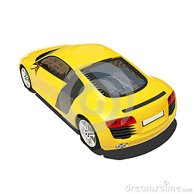 Yellow Super Car Isolated on the White Background