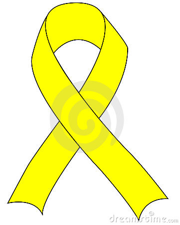 Yellow Support the Troops Ribbon