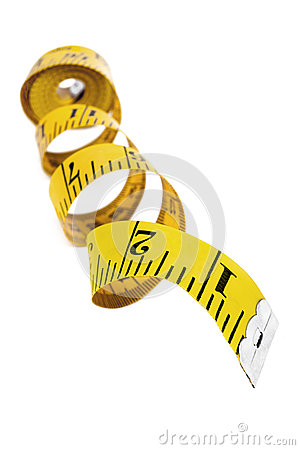 Yellow Tape Measure over White