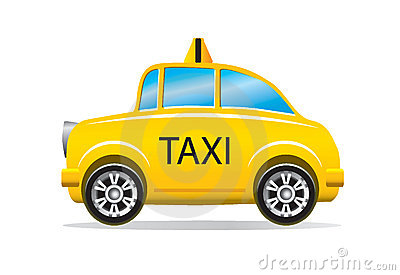 Illustration of yellow taxi cab isolated on white background.
