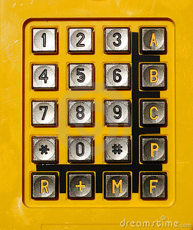 Yellow telephone keypad