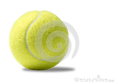 Yellow tennis ball on a white background