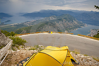 Yellow tent, aerial view on Kotor bay - Montenegro