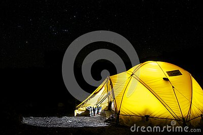 Yellow Tent Under Starry Night Free Public Domain Cc0 Image