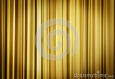 Theater stage yellow curtains ready to open for a live performance