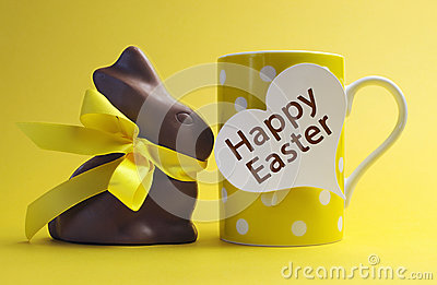 Yellow theme Happy Easter polka dot breakfast coffee mug with chocolate bunny rabbit