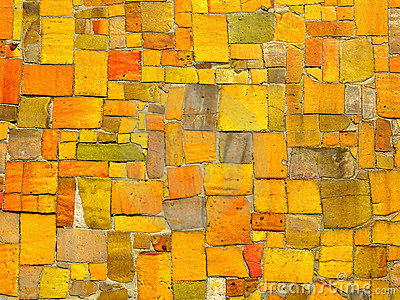 Yellow tiles mosaic -  random pattern