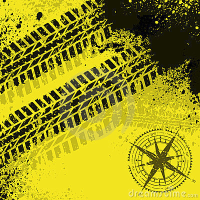 Yellow tire tracks with wind rose