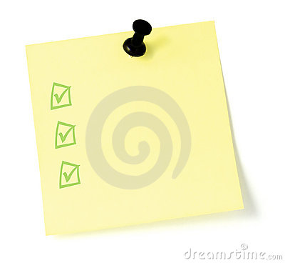 Free Yellow To-Do List With Pushpin And Checkboxes Royalty Free Stock Photography - 4424197