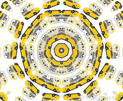 Yellow toy car kaleidoscope
