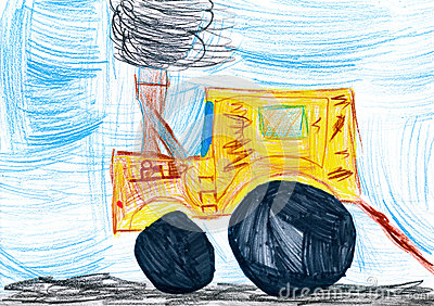 Yellow tractor. child drawing