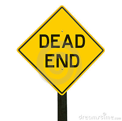 Yellow traffic sign with dead end symbol.