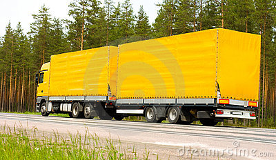 Yellow trailer truck