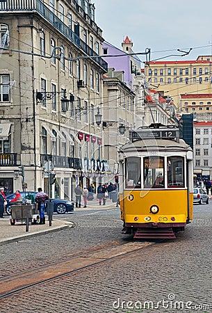Yellow tram in Lisbon, Portugal Editorial Photo