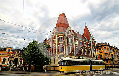Yellow tram in Timisoara, Romania
