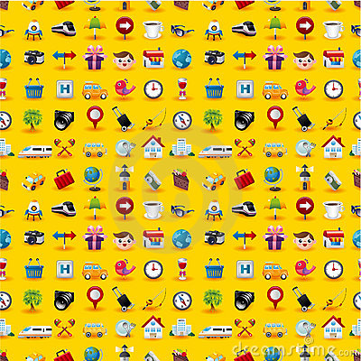 Yellow  Travel Icons Seamless Pattern