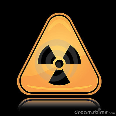 Yellow triangle icon radiation sign