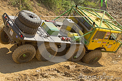 Yellow truck at difficult terrain Editorial Stock Photo
