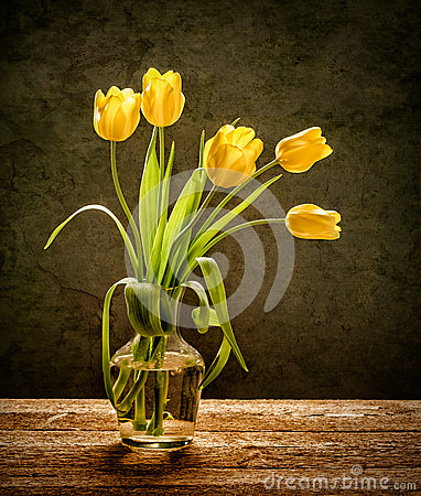 Yellow flowers on rustic background