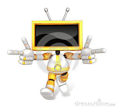 Yellow TV character are kindly guidance. Create 3D Television Ro