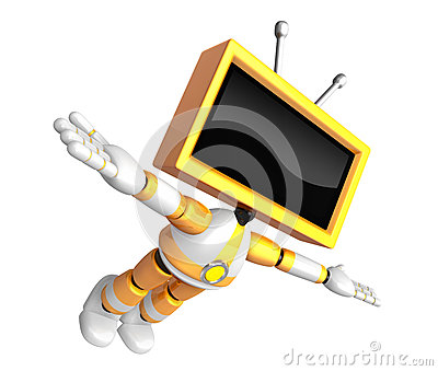 Yellow TV robot flying towards the sky. Create 3D Television Rob