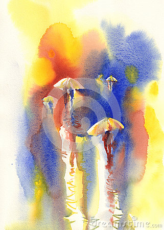 Yellow umbrellas in the rain watercolor Stock Photo