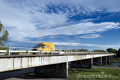 Yellow Van on Bridge