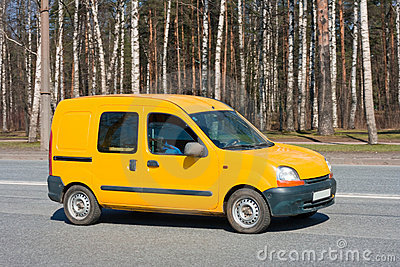 Yellow van on road