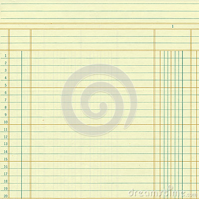 Yellow vintage ledger or graph paper numbers