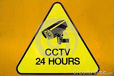 Yellow Warning Cctv Security Cameras Sign Operating 24