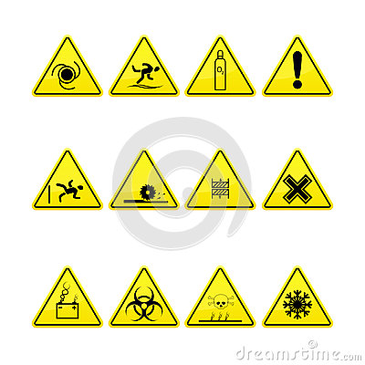 Yellow warning and danger signs