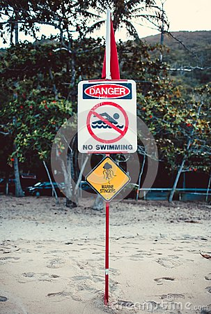 Yellow warning sign of marine stingers
