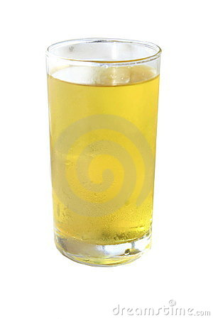 Yellow water in clear glass