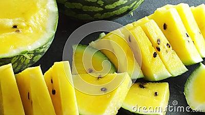 Yellow Watermelon fresh fruit stock video