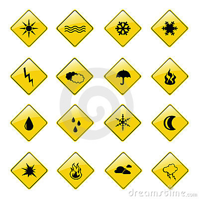Yellow weather sign icons