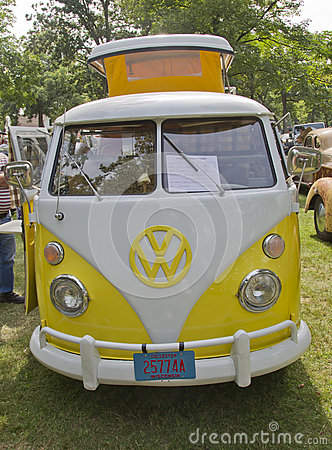 Yellow & White 1966 VW Camper Editorial Image