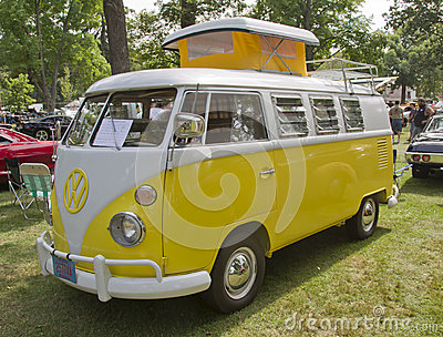 Yellow & White 1966 VW Camper side view Editorial Image