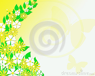 Yellow and White Floral Butterfly Background