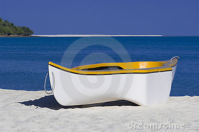 Yellow and white rowing boat