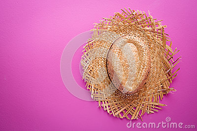 Yellow wicker straw hat