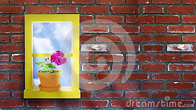Yellow Window Brick Wall