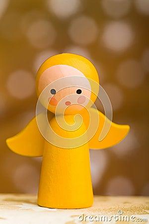 Yellow wooden christmas angel