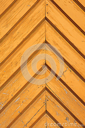 Yellow wooden door detail