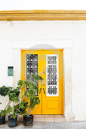 Free Yellow Wooden Door, Mediterranean Style Royalty Free Stock Photos - 47867278
